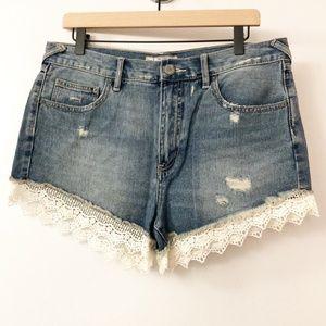 Free People High Rise Denim Ruffle Shorts Size 30